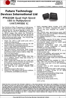 FT4232H datasheet - The FT4232H is FTDI's 5th generation of
