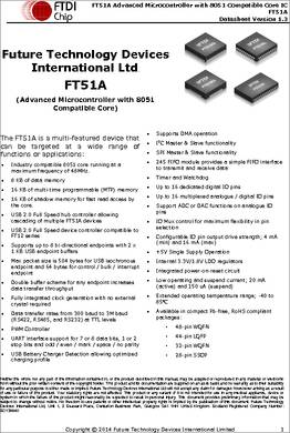 FT51A datasheet - The FT51A series provides an 8051