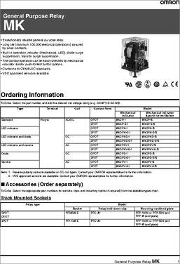 MK2P-I-AC50 datasheet - Specifications: Relay Type: General Purpose on