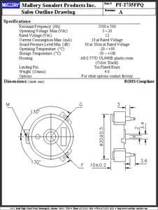 PT-2735FPQ datasheet - Specifications: Type: Piezo