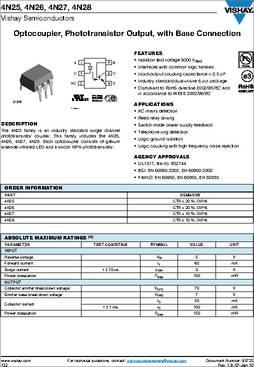 4n25 pinout datasheet phototransistor fairchild.