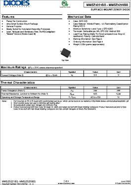 Zener Diodes 250mW 2.7V Zener Pack of 1000 BZT52C2V7LP-7