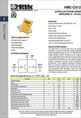 HMC-C072 datasheet - Ultra Low Phase Noise Amplifier Module, 6 - 12