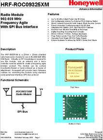 HRF-ROC09325XM datasheet - Radiomodule 902-928 MHZ Frequency Agile
