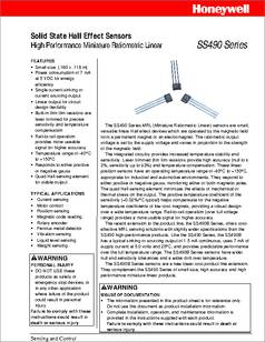 Ss490 series datasheet honeywell sensing | digikey.