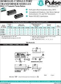 40C+85C 1-PORT Transformers Audio /& Signal 10//100 BASE-T 50 pieces