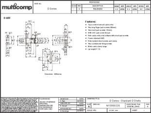 THERMOPLASTIC 1 piece MULTICOMP SPC14937 D SUB COVER SIZE DA