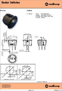 ROCKER 250V BLACK 20A DPST 1 piece MULTICOMP R13-244A-02-BB-3A SWITCH