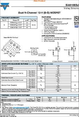 MOSFET 12V VDS 8V VGS PowerPAK SC-70 Pack of 100 SIA910EDJ-T1-GE3