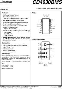 Cd4030bdmsr datasheet radiation hardened cmos quad exclusive-or gate.