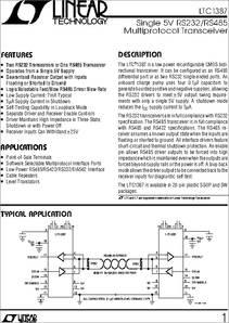LTC1387ISW datasheet - LTC1387, Single 5V RS232/RS485 Multiprotocol