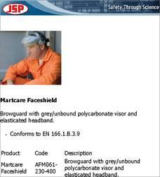 JSP Martcare Browguard /& Visor Faceshield Elastic Headband AFM061-230-400 EN 166