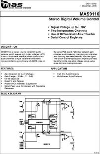 MAS9116 datasheet - Stereo Digital Volume Control