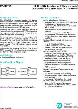 MAX96705GTJ+ datasheet - Maxim MAX96705 16-Bit GMSL