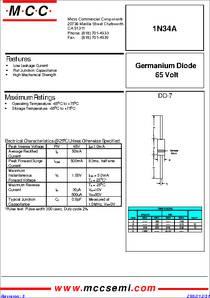 1N34A datasheet - Package Type : DO-7, if : , VRM : 65V