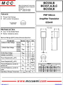 BC557B datasheet - Package Type : TO-92 Plastic-encapsulate Bipolar