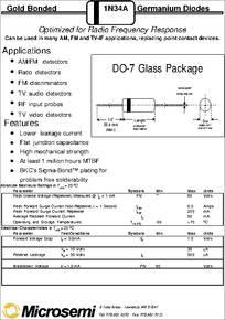 1N34A datasheet - Germanium Diode, Package : DO-7