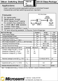 1N4148 datasheet - Silicon Switching Diode Do-35 Gl Package