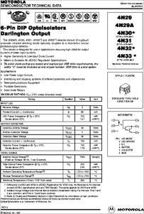 4N33 datasheet - 6-pin Dip Optoisolators Darlington Output