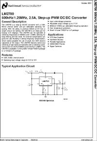 lm2700 datasheet lm2700 600khz 1 25mhz, 2 5a, step up pwm dc dcrelated products with the same datasheet