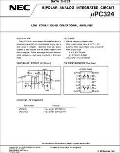 C324C datasheet - LOW Power QUAD Operational Amplifier