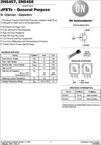2N5458 datasheet - Small Signal JFET N-channel , Package: TO-92 (TO