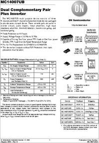 Mc14007ubcp Datasheet Dual Comparator Pair Plus Inverter