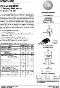 MTW7N80E datasheet - Tmos Power Fet, To-220ab, N-channel: 800v, 7a