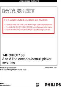 74hct138d datasheet 74hc/hct138; 3-to-8 line decoder.
