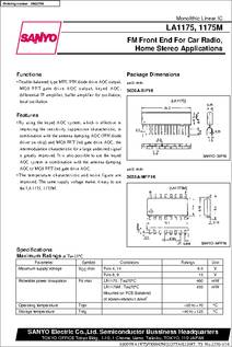 LA1175 datasheet - FM Front End For Car Radio, Home Stereo