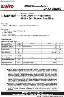 LA42102 datasheet - Monolithic Linear IC Audio Output for TV Application