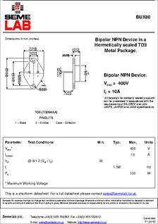 Transistor BUX80 NPN TO3 10A 400V 100W