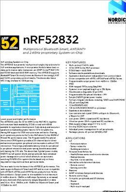 NRF52832-QFAB-R datasheet - Nordic's nRF52832 SoC is the first in a