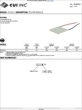 Thermoelectric Modules CP08,127,06,L1,W4.5 25x25x3.4mm