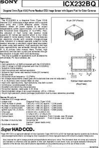ICX232BQ datasheet - Diagonal 5mm(Type 1/3 6) Frame Readout CCD