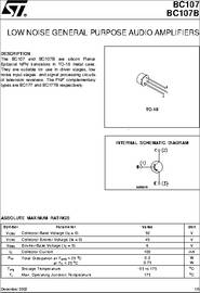 BC107 datasheet - Low Noise General Purpose Audio Amplifiers