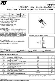 Irf540 Datasheet N Channel 100v 0 055 Ohm 22a To 220