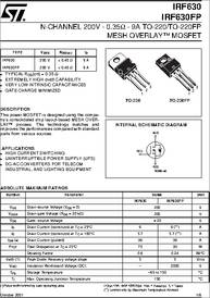 IRF630 datasheet - N-channel 200V - 0.35 Ohm - 9A - TO-220 ...