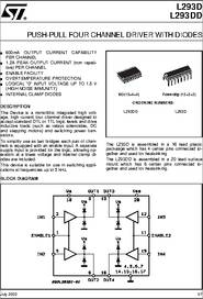 L293d Datasheet Push Pull Four Channel Driver With Diodes