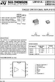 LM301 datasheet - Single Operational Amplifiers