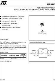 OP07 datasheet - Very Low Offset Single Bipolar Op-amps