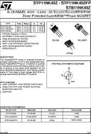 Stmicroelectronics STP11NK40ZFP N-Kanal Mosfet 9 A 400 V Mdmesh Supermesh