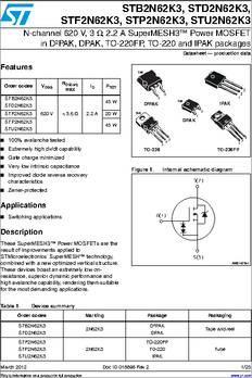 D2PAK MOSFET 650V STMICROELECTRONICS N CH 12A STB16N65M5