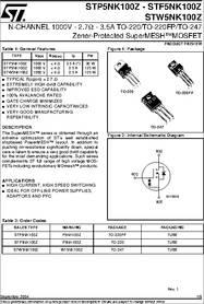 STP5NK100Z Transistor N-MOSFET+Z-Diode 1000V 3,5A 125W TO220