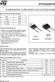 5 x STTA2006PI STTA2006 20A 600V TURBOSWITCH ULTRA-FAST HIGH VOLTAGE DIODE TO3P