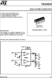 TDA2822 datasheet - Dual Power Amplifier