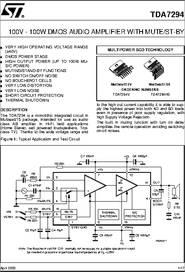 tda7294 datasheet 100v 100w dmos audio amplifier with mute st by rh digchip com tda7293 tda7294 datasheet tda7294 amplifier datasheet