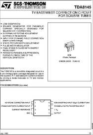 TDA8145 datasheet - E/w Square CRT Parabolic And Keystone Correction