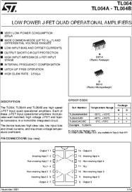 TL064ID datasheet - Low Power J-FET Quad Op-amps