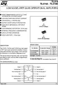 TL074BI datasheet - Low Noise Quad JFET Op-amps